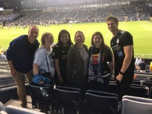 Scott and the Olathe Clinic at a Sporting KC Soccer Game