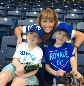 Kendal Orlowski with grandkids at Royals Game